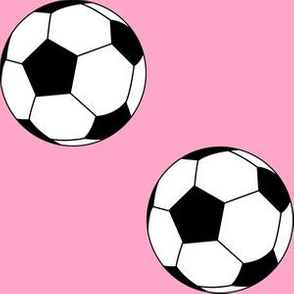 Three Inch Black and White Soccer Balls on Carnation Pink