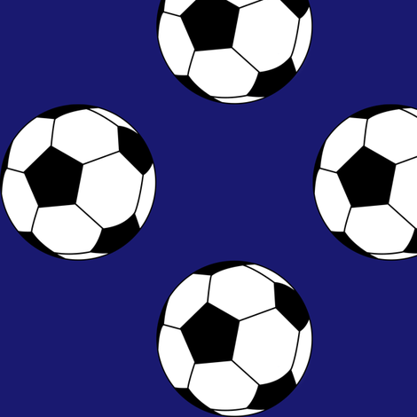 Three Inch Black and White Soccer Balls on Midnight Blue fabric by mtothefifthpower on Spoonflower - custom fabric