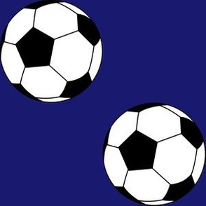 Three Inch Black and White Soccer Balls on Midnight Blue