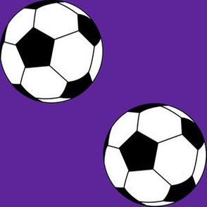 Three Inch Black and White Soccer Balls on Purple