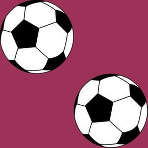 Three Inch Black and White Soccer Balls on Sangria Pink
