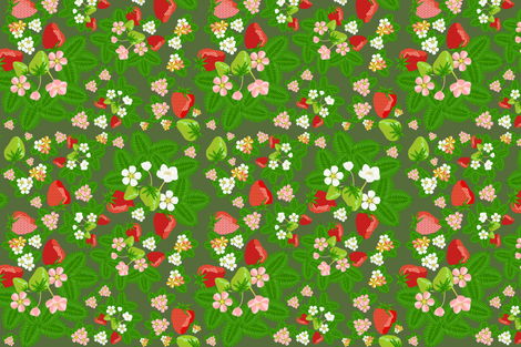strawberry_patch_blooms_disperse fabric by anino on Spoonflower - custom fabric