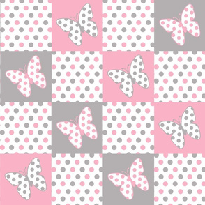 Pink Gray Butterfly Polka Dot Quilt Blocks