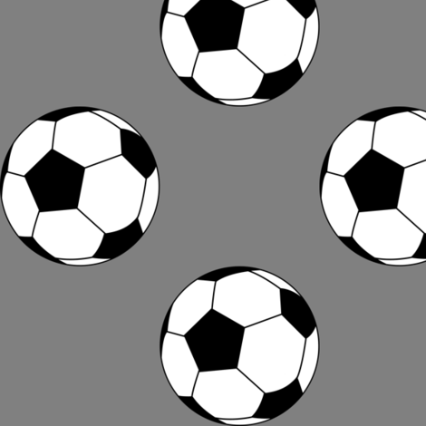 Three Inch Black and White Soccer Balls on Medium Gray fabric by mtothefifthpower on Spoonflower - custom fabric