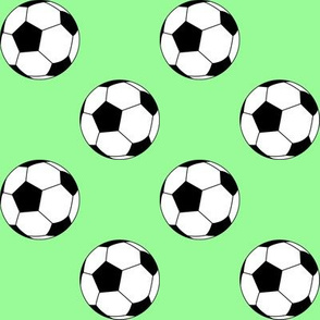 Two Inch Black and White Soccer Balls on Mint Green