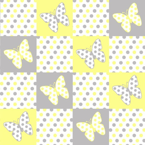 Yellow Gray Butterfly Polka Dot Quilt Blocks