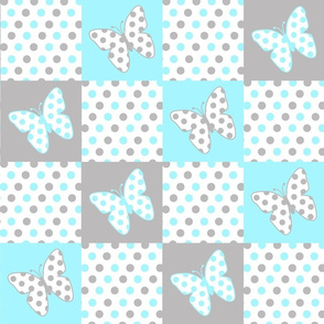 Aqua Blue Gray Butterfly Polka Dot Quilt Blocks