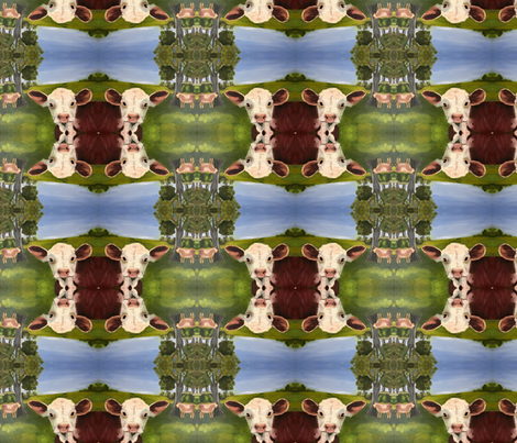 MOO and Smile Farm print fabric by erica_lindberg_designs on Spoonflower - custom fabric