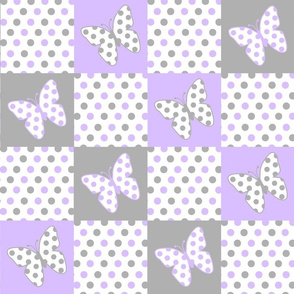 Purple Lavender Gray Butterfly Polka Dot Quilt Blocks