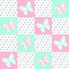Pink Mint Green Butterfly Polka Dot Quilt Blocks