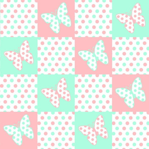 Pink Coral Mint Green Butterfly Polka Dot Quilt Blocks