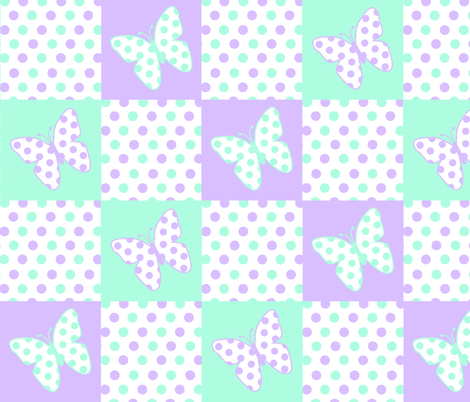 Purple Lavender and Mint Green Butterfly Polka Dot Quilt Blocks fabric by decamp_studios on Spoonflower - custom fabric