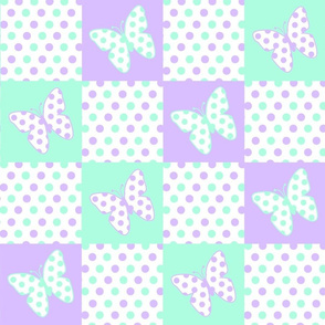 Purple Lavender and Mint Green Butterfly Polka Dot Quilt Blocks