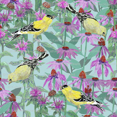 bee_balm_and_cone_flowers_and_gold_finches_off_set_B