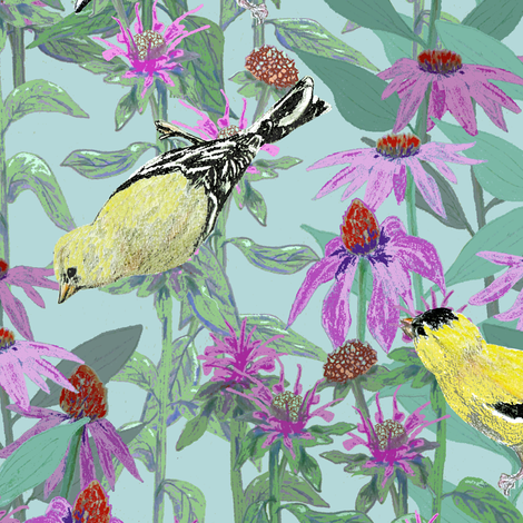 bee_balm_and_cone_flowers_and_gold_finches_off_set_B fabric by khowardquilts on Spoonflower - custom fabric