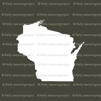 "itty bitty Wisconsin silhouette - 1"" white on khaki"