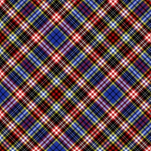 "Ogilvy or Drummond of Strathallan tartan, blue modern, 6"" diagonal"