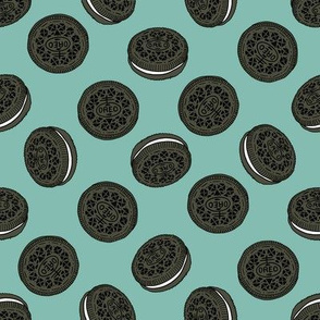 oreo cookie pattern fabric - cookie fabric, food fabric, junk food fabric - blue