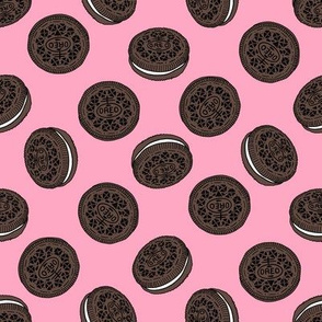 oreo cookie pattern fabric - cookie fabric, food fabric, junk food fabric -  pink