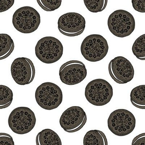oreo cookie pattern fabric - cookie fabric, food fabric, junk food fabric - white