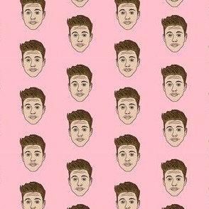 bieber fabric - cute funny people fabric, pop culture fabric, celebrity fabric - pink