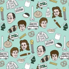 seinfeld fabric - seinfeld illustration, nyc, comedy, tv show, fan art, jerry, george, elaine, kramer - mint