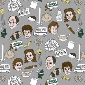 seinfeld fabric - seinfeld illustration, nyc, comedy, tv show, fan art, jerry, george, elaine, kramer - grey