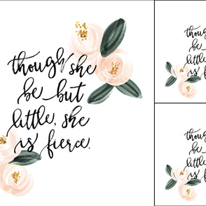 1 blanket + 2 loveys: though she be but little she is fierce // soft pink watercolor rosette