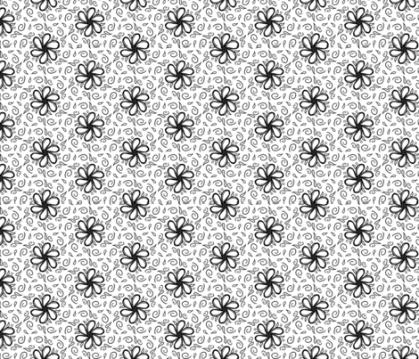 floral black and white fabric by rosemaryanndesigns on Spoonflower - custom fabric