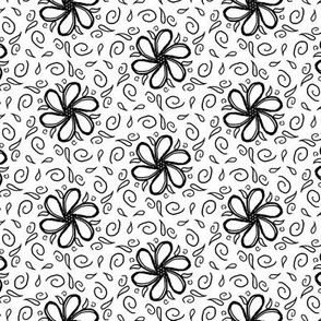floral black and white