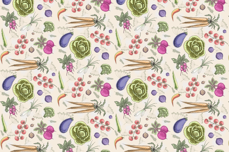 Farm veggies (cream) by HelenPdesigns fabric by helenpdesigns on Spoonflower - custom fabric