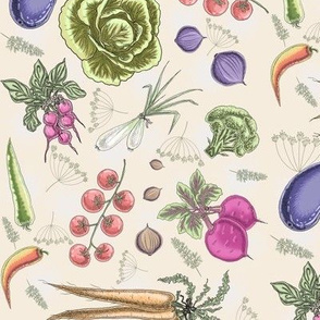 Farm veggies (cream) by HelenPdesigns
