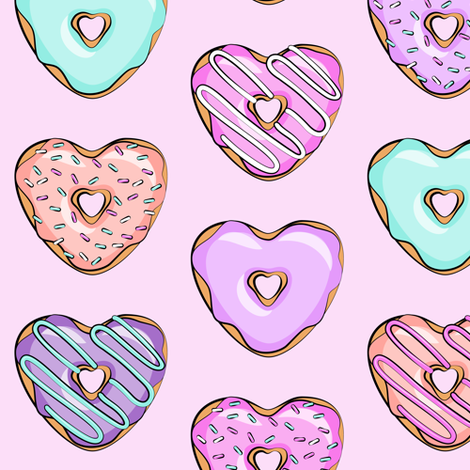 heart shaped donuts - valentines multi  fabric by littlearrowdesign on Spoonflower - custom fabric