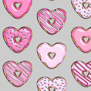 heart shaped donuts - valentines  pink on grey
