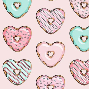 heart shaped donuts - valentines pink & mint  on pink