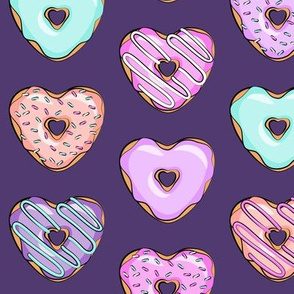 heart shaped donuts - valentines multi on purple
