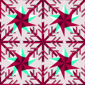 Magenta Snow Flake and Stars