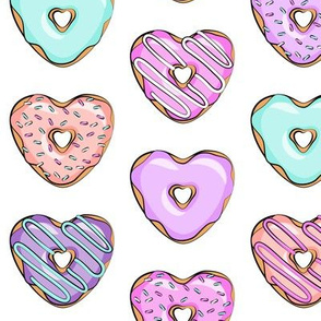 heart shaped donuts - valentines multi on white