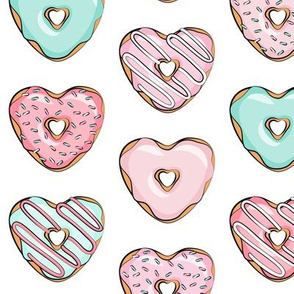 heart shaped donuts - valentines pink & mint