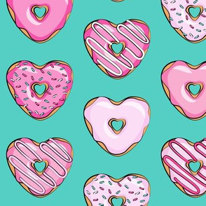 heart shaped donuts - valentines pink  on dark teal