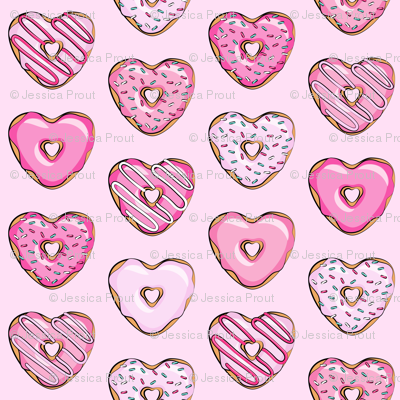 heart shaped donuts - valentines pink  on pink