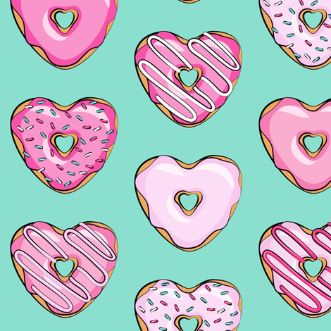 heart shaped donuts - valentines pink  on teal fabric by littlearrowdesign on Spoonflower - custom fabric