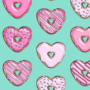 heart shaped donuts - valentines pink  on teal