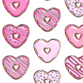 heart shaped donuts - valentines pink