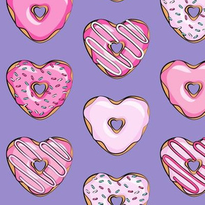 heart shaped donuts - valentines pink on purple
