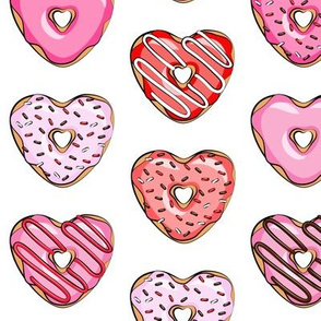 heart shaped donuts - valentines red and pink