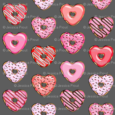 (small scale) heart shaped donuts - valentines red and pink on grey