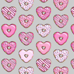 (small scale) heart shaped donuts - valentines pink on grey
