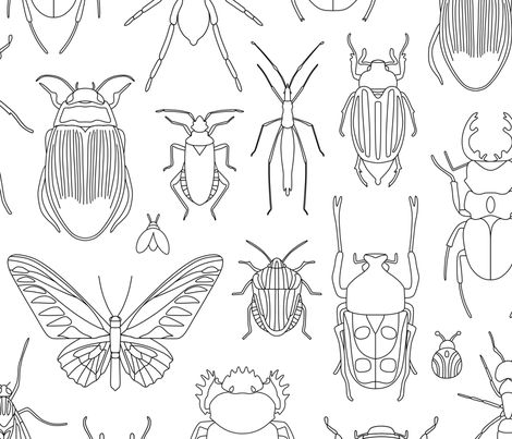 Bugs Coloring Design fabric by mariafaithgarcia on Spoonflower - custom fabric