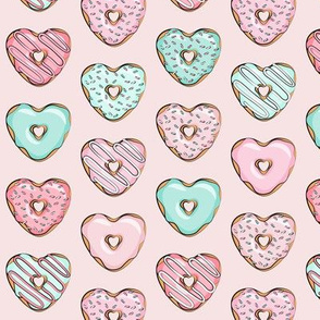 (small scale) heart shaped donuts - valentines pink & mint  on pink